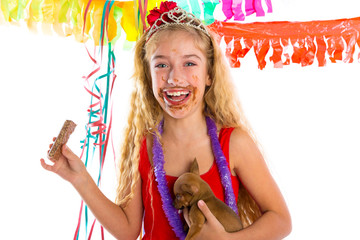 happy party girl puppy present eating chocolate