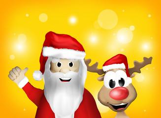 Santa Claus and Reindeer Christmas