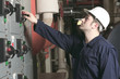 maintenance engineer checking technical data of heating system e - 77954652