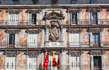 Facade of the old building on Plaza Mayor, Madrid