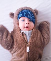 Winter teddy bear child baby