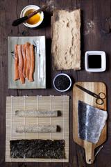 overhead shot of ingredients for preparing sushi