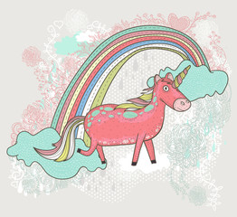Cute unicorn illustration for children or kids. Doodle floral pa