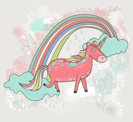 Cute unicorn illustration for children or kids. Doodle floral pa