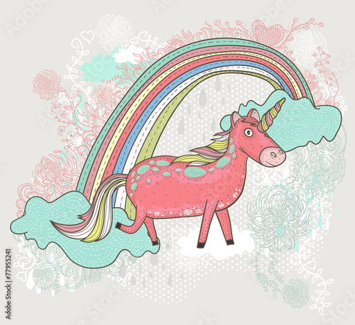 Cute unicorn illustration for children or kids. Doodle floral pa - 77955241