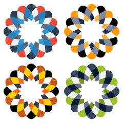 Collection of 4 colorful isolated ornaments