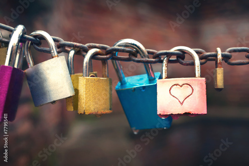 Series of colored padlocks with hart shape