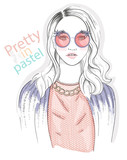 Young girl fashion illustration. Pastel fashion trend. - 77955689