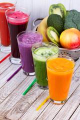 Fresh fruit and vegetable juice. Smoothie. Studio photography.