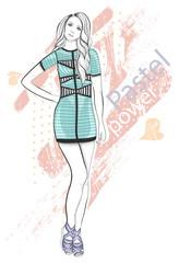 Young girl fashion illustration. Pastel fashion trend.