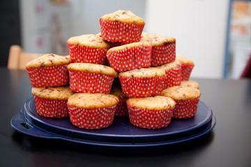 chocolate chip muffins stack