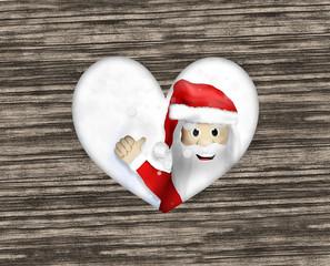 Santa Claus wood heart thumbs up