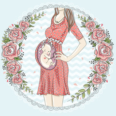 Pregnant woman with cute baby  and flower frame.