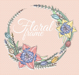 Floral Frame. Cute retro flowers arranged in a shape of the wrea