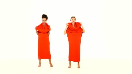 Portrait of a two women in red dresses-changeling, isolated on