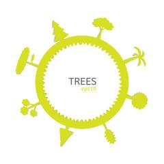 set of tree on globe