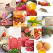 canvas print picture - high protein food collection collage