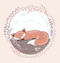 Cute little fox illustration for children