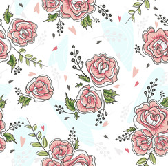 Cute seamless vintage rose pattern. Background with flowers and
