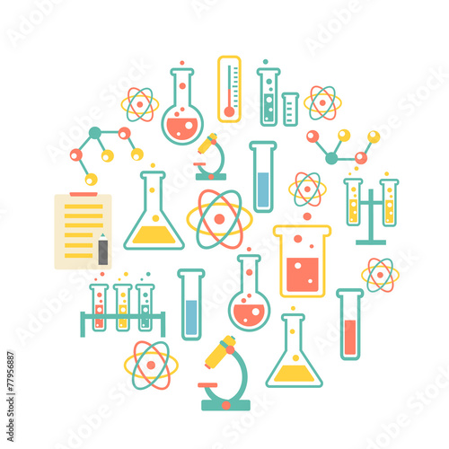 chemistry icons background - 77956887