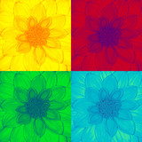 Dahlia flower in pop-art style