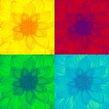 Dahlia flower in pop-art style