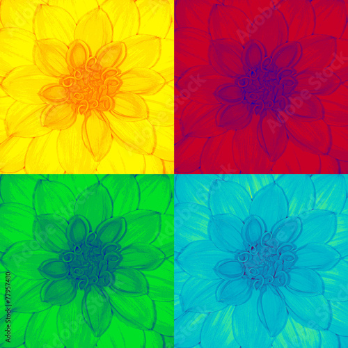 Fototapeta Dahlia flower in pop-art style