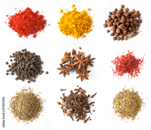 Deurstickers Kruiden Spices set top view