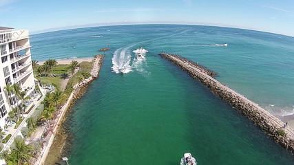 Coastal waterways in Florida aerial view