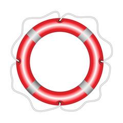 Round red lifebuoy isolated on white background.