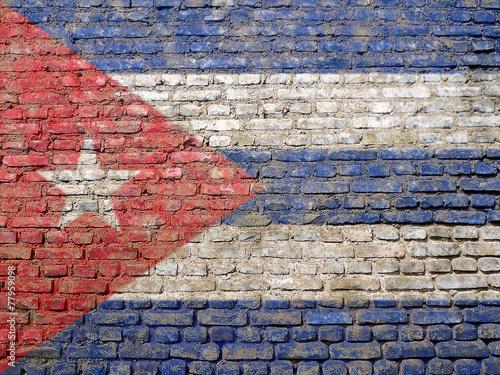 Fotobehang Caraïben Cuban flag painted on wall