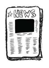 Cartoon newspaper with blank photo, empty reportage