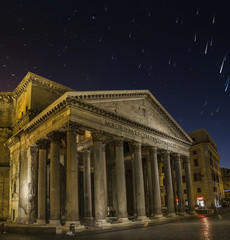 pantheon by night in rome  star trails in the sky