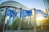 European union flag against parliament in Brussels - 77960083