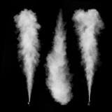 White smoke set isolated on black