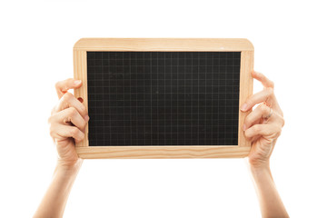 female hands holding blackboard chalkboard