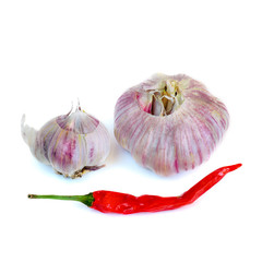 garlic, red pepper on a white background