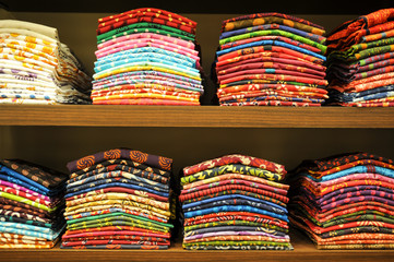 Colorful Sari on a shop of Mumbai