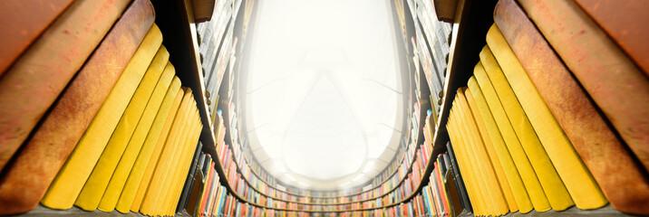 Bookshelf, bright light