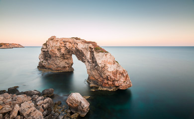 Es pontas, rock in Mallorca, Spain. Long exposure landscape