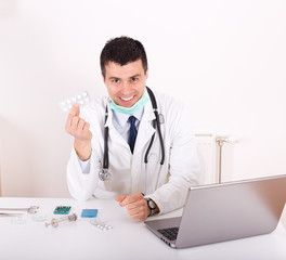 Doctor advising about medicaments