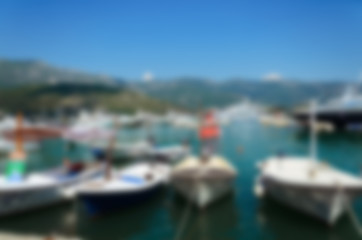 Blurred nature background. Sea and boats