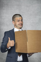 happy businessman changing work, thumb up