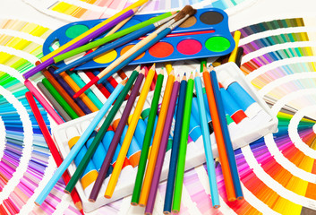 pencils, paint and color chart of all colors