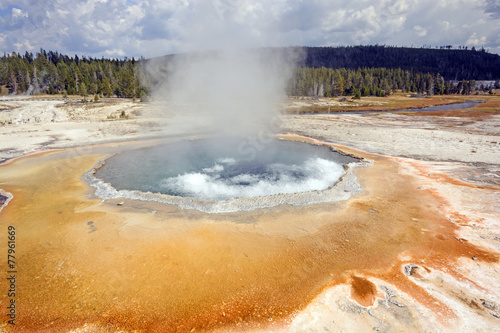 Boiling Water in a Coloful Hot Spring - 77961669