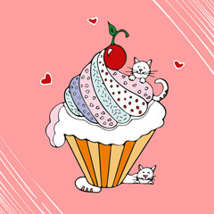 Funny cat with cupcake hand drawn vector illustration.