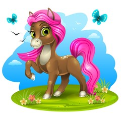 Brown pony with pink tail