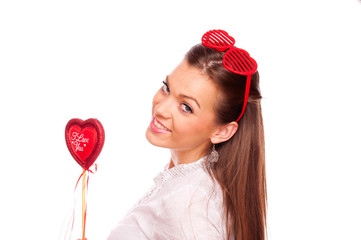Young woman with heart