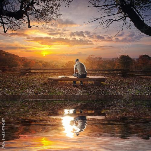 Leinwandbild Motiv Praying on bench