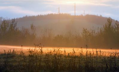 Sunrise country autumn landscape